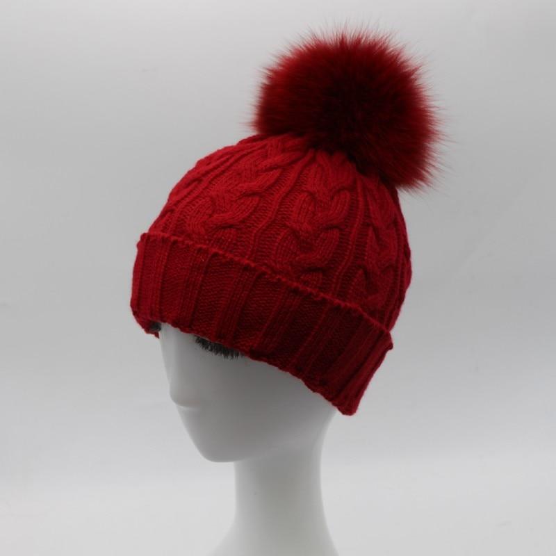 Bonnet pompon en fourrure véritable, mode décontractée