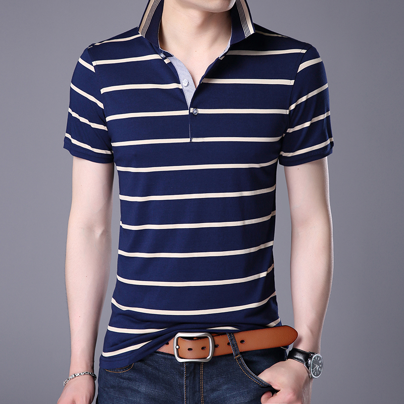 2019 New Fashions Brand Designer   Polo   Shirt Mens Boyfriend Gift Summer Slim Fit Short Sleeve Striped   Polos   Casual Men Clothing