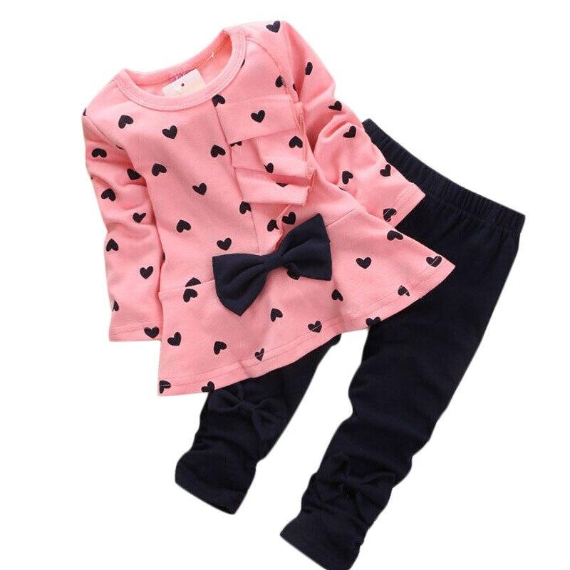 Baby Girl Sets Heart-shaped Print Bow Cute 2PCS Kids Set T shirt + Pants Cute Princess Kids Clothing Set