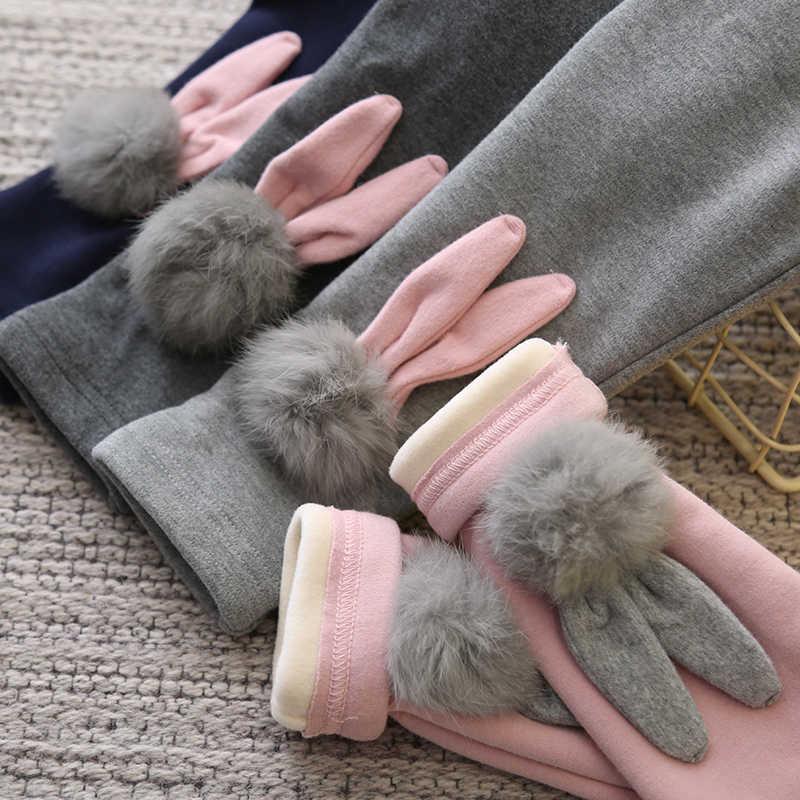 Mới Tập Đi Cho Bé Gái Trẻ Em Quần Skinny Cho Trẻ Em 2-10year Quần Thỏ In Co Giãn Ấm Quần Legging