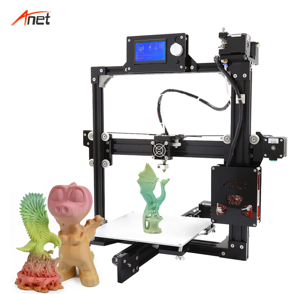 Anet A2 Cheapest Price 3D Printer Machine Easy Assembly DIY 3D Printer Original Manufacturer 2004/12864 LCD Screen Options anet a2 12864 large aluminium metal 3d printer with lcd display