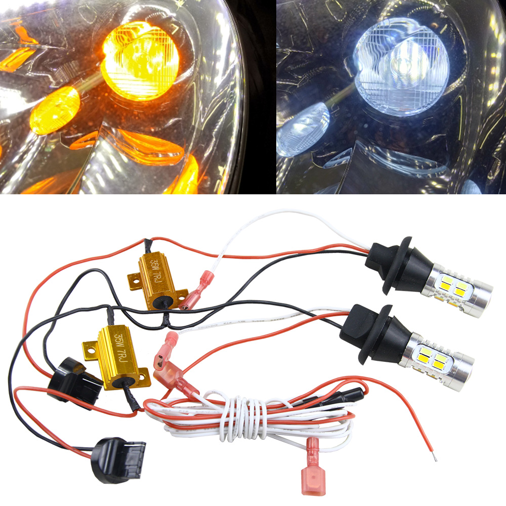 2X 10W White/Amber Switchback 7440 7441 7443 7444 T20 LED 360 degree Projector Lens Turn Signal Light Bulb Kit + Load Resistor band switching signal converter a knife 12 files 360 degree turn