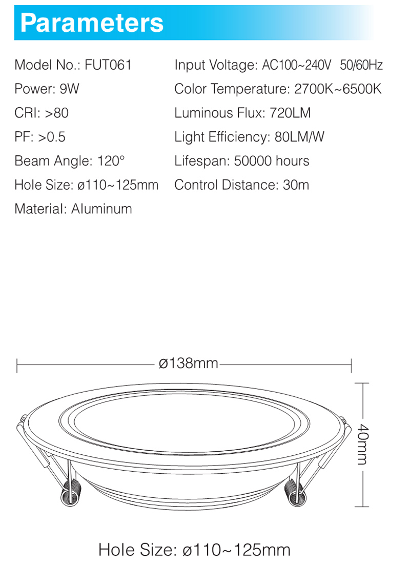 cct led downlight regulável ac220v recessed downlight