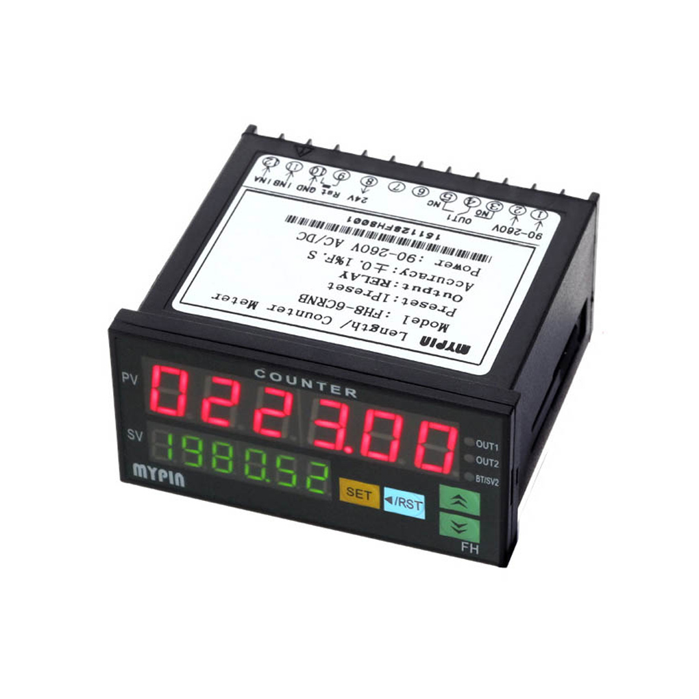 MYPIN FH8-6CRNB Digital Counter Mini Electronic Length Batch Meter 1 Preset Relay Output Count Meter can add and subtract electronic digital display counter meter meter set