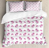 Love Duvet Cover Set Pink Hearts and Magical Pony Horse Kids Girls Design Fairytale Toy Animal Cartoon 4 pcs Bedding Set