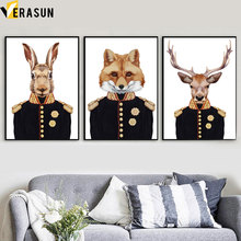 Abstract Deer Rabbit Fox Major general Wall Art Canvas Painting Nordic Posters And Prints Pictures For Living Room Decor