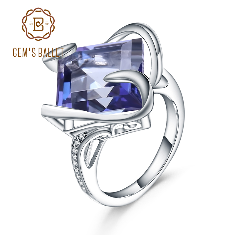 Gem's Ballet 925 Sterling Silver Luxury Cocktail Ring Natural Iolite Blue Mystic Quartz Gemstone Rings For Woman Fine Jewelry