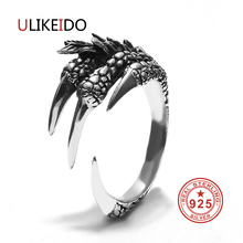 100% Pure 925 Sterling Silver Jewelry Dragon Rings Eagle Claws Vintage Men Signet Ring For Women Boy Friend Christmas Gift 0001 100% pure 925 sterling silver jewelry bird rings opening vintage men signet ring for women fine gift 0013