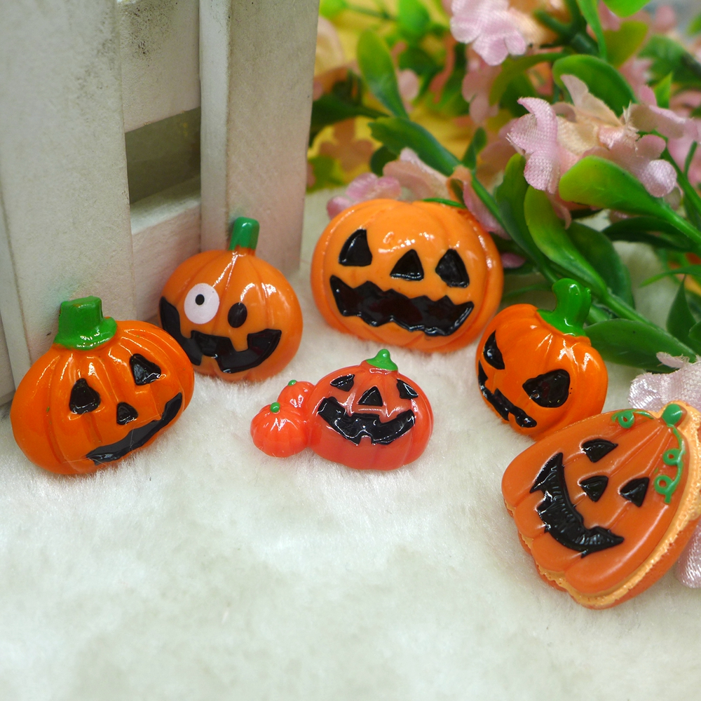 10pcs halloween pumpkin wizard flatback resin cabochon embellishment diy accessories scrapbooking crafts for decoration - Cheap Halloween Crafts