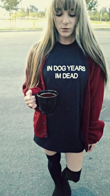 fd6375e3f276 IN DOG YEARS IM DEAD T-Shirt Short Sleeve Tumblr Letter Outfits Casual  Aesthetic Grunge. Girl ...