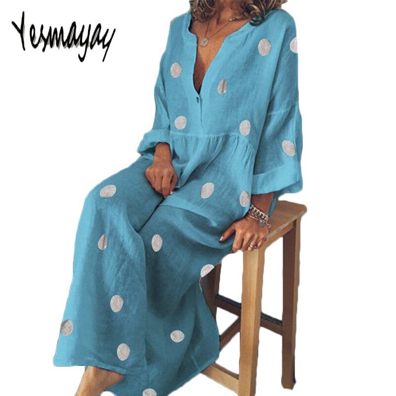 Robe d'été femmes grande taille 5XL coton décontracté manches courtes femmes robe élégante col en v imprimer Vintage robes longues 2019