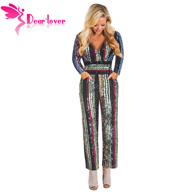 Dear Lover Sequin Jumpsuit Long Sleeve for Women 2019 New Colorful Striped Deep V neck High