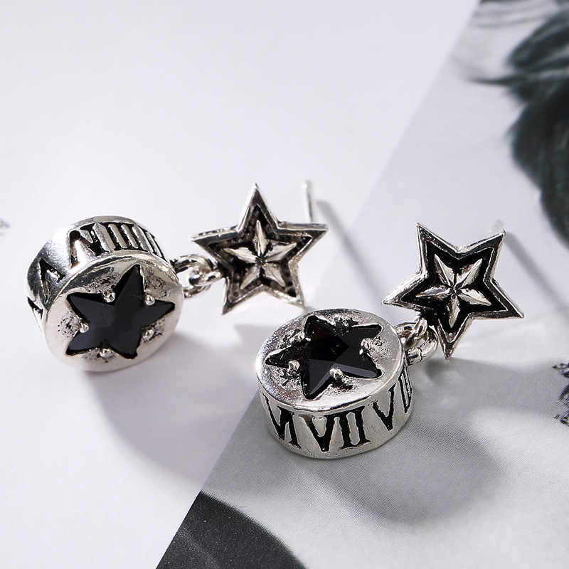 Sterling Silver Antique Five Star Pattern Inlaid Ladys Anti Allergy, Personalized Wholesale Ear Earrings Wholesale