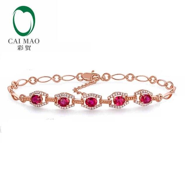 CaiMao 18KT/750 Rose Gold 1.68 ct Natural Ruby & 0.32 ct Round Cut Diamond Engagement Gemstone Bracelets Jewelry