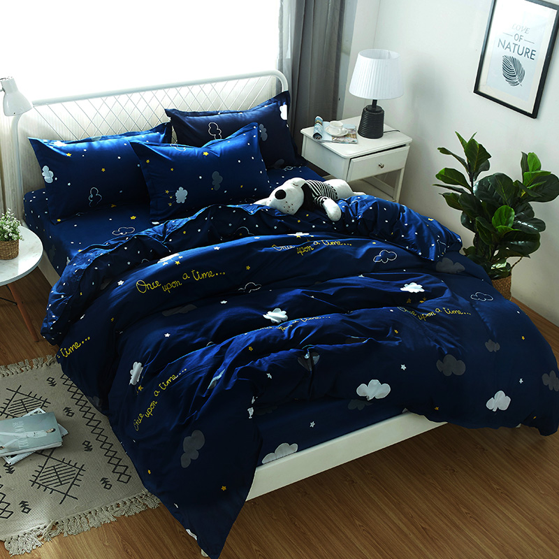 3/4Pcs New Style Starry Sky Navy Blue Bedding Sets Pillowcase Star White Clouds Duvet Cover Set FullTwin Queen King Size