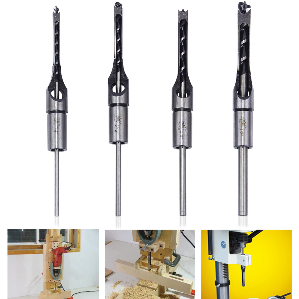 Hakkin 4Pcs 6.35mm 7.94mm 9.5mm 12.7mm HSS Square Hole Saw Mortise Chisel Wood Drill Bit with Twist Drill with Plastic box 10mm woodworking square hole drill high speed steel hss square hole saw mortise chisel wood drill bit with twist drill dyi tool