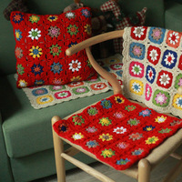 Handmade sofa flower cushion mat outdoor Tea Ceremony Hand hooked decoration crochet blanket cushion felt pastoral style