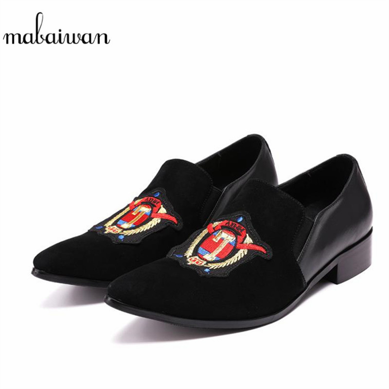Mabaiwan Casual Men Shoes Loafers Embroidery Slipper Black Suede Wedding Dress Shoes Men's Slip-On Handmade leather Flats top brand high quality genuine leather casual men shoes cow suede comfortable loafers soft breathable shoes men flats warm