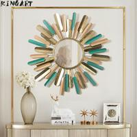 Antique Larger Metal Frame Round Wall Mirror Big Living Room Mural Hanging Retro Wall Mirror
