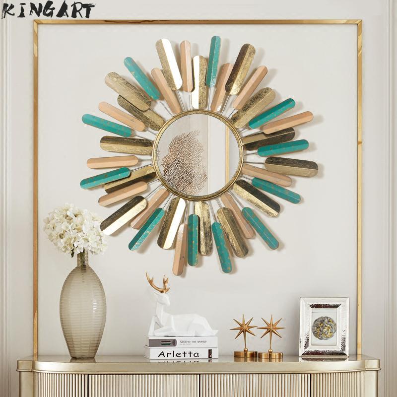 Antique plus grand cadre en métal miroir Mural rond grand salon Mural suspendu rétro miroir Mural