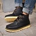2016 зимний отдых плюс бархат мужчины кожаные сапоги повседневная обувь британский тенденция мужские сапоги случайные плоские Акцентом обувь оптом