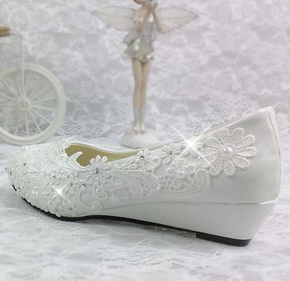 3 CM calcanhar cunhas sapatos de casamento noivas luz branca do laço do marfim sapato de dança do partido da mulher vestido de noiva bombas cunhas sapatos