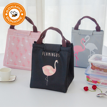 BONAMIE Flamingo Tote Thermal Bag Black Waterproof Oxford Beach Lunch Bag Food Picnic Bolsa Termica Women kid Men Cooler Bag New