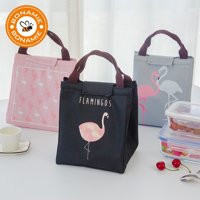 8b9dac59e BONAMIE Flamingo Tote Thermal Bag Black Waterproof Oxford Beach Lunch Bag  Food Picnic Bolsa Termica Women