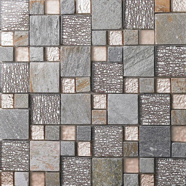 Sample Brown Glass Natural Stone Linear Mosaic Tile Wall: Stone Mixed Glass Mosaic 23x23mm, 48x48mm Square Mosaic