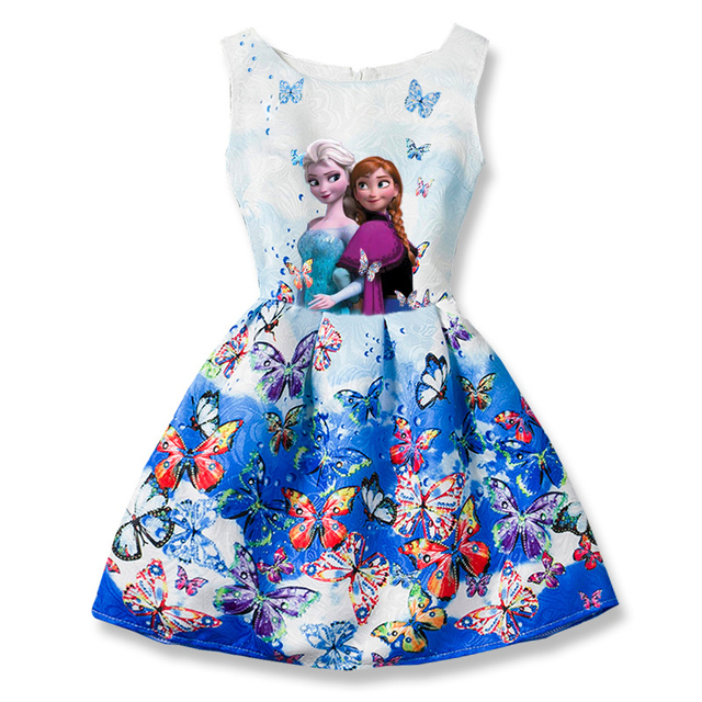 2017 Summer Girls Dresses Elsa Dress Anna Princess Party Dress For Girls Vestidos Teenagers Butterfly Print Baby Girl Clothes