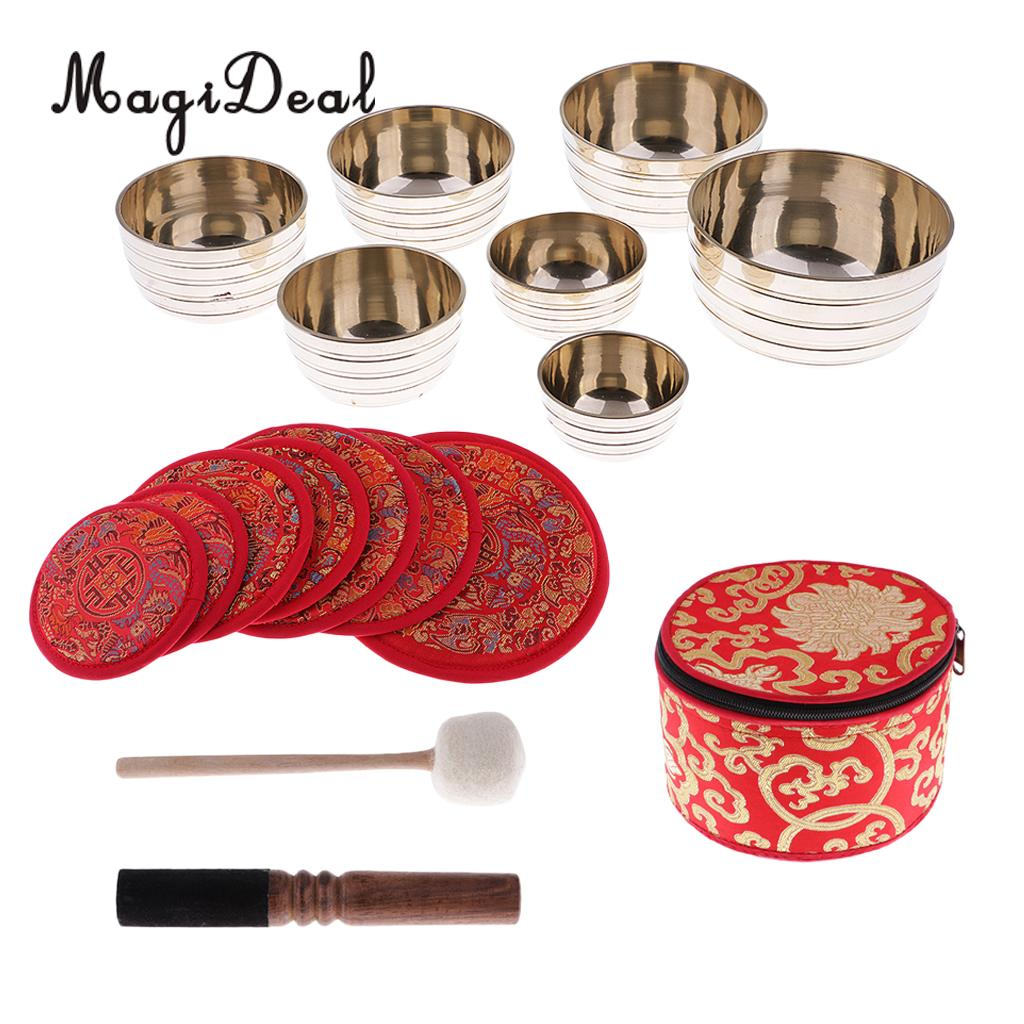 MagiDeal Copper Tibetan Singing Bowl with Cushion Set for Meditation Yoga Dharma Buddhism Gifts Crafts Home Decor