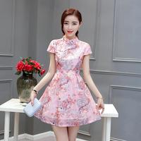 2016 Summer Chinese Traditional Long Dress Evening Dress Qipao Plus Vintage Short Sleeve Wedding Cheongsam For
