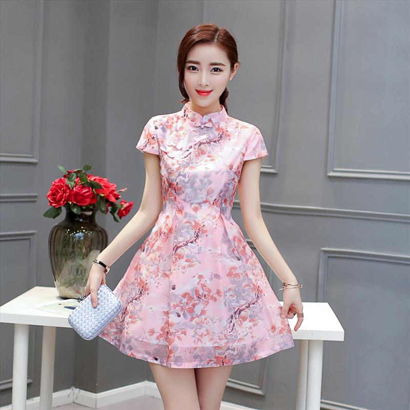 2018 New Female Chinese Traditional Dress Vintage Short Sleeves