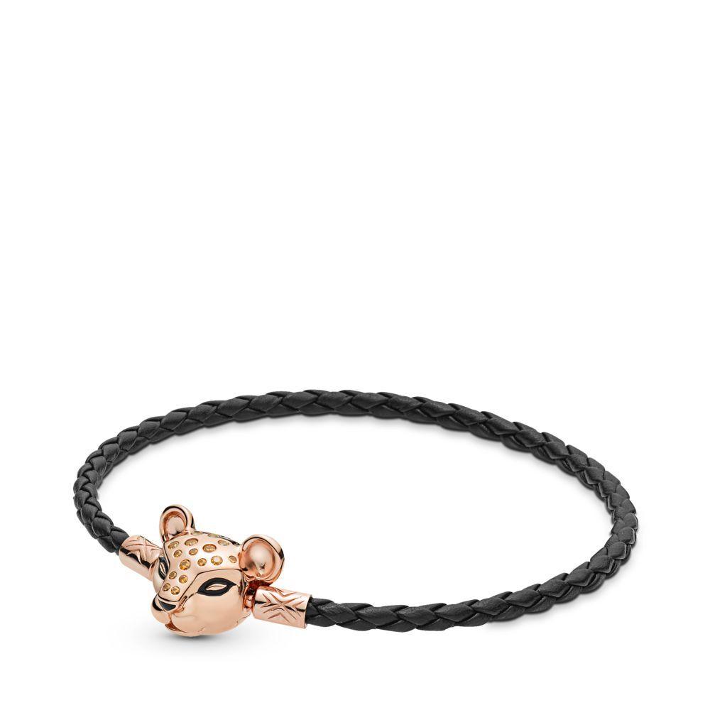 Or Rose Lion 925 Bracelets en argent Sterling boucle en cuir noir Bracelets pour femme de base perles pendentif bijoux à bricoler soi-même