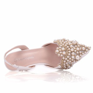 Image 4 - Crystal Queen Women Pumps 10CM High Heels Lace Pearl Elegant Heeled Sexy Pointed Slingbacks Wedding Party Dress Courtesy Shoes