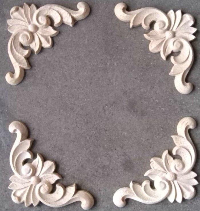 24pcs Lot 100 Thick8mm Furniture Architectural Liques Corners Rubber Wood Flower Unpainted