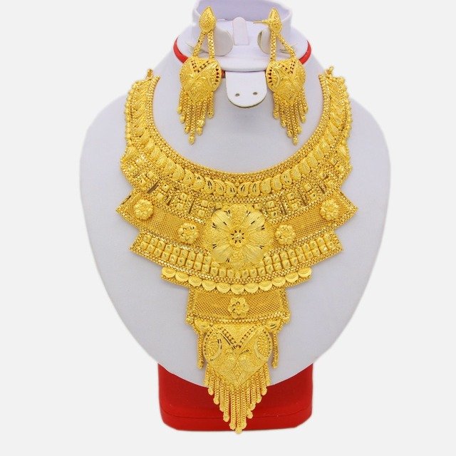 NEW African High Quality Dubai Necklace Earrings Jewelry Set For Women Gold Color Elegant Arab Wedding/Party Gifts