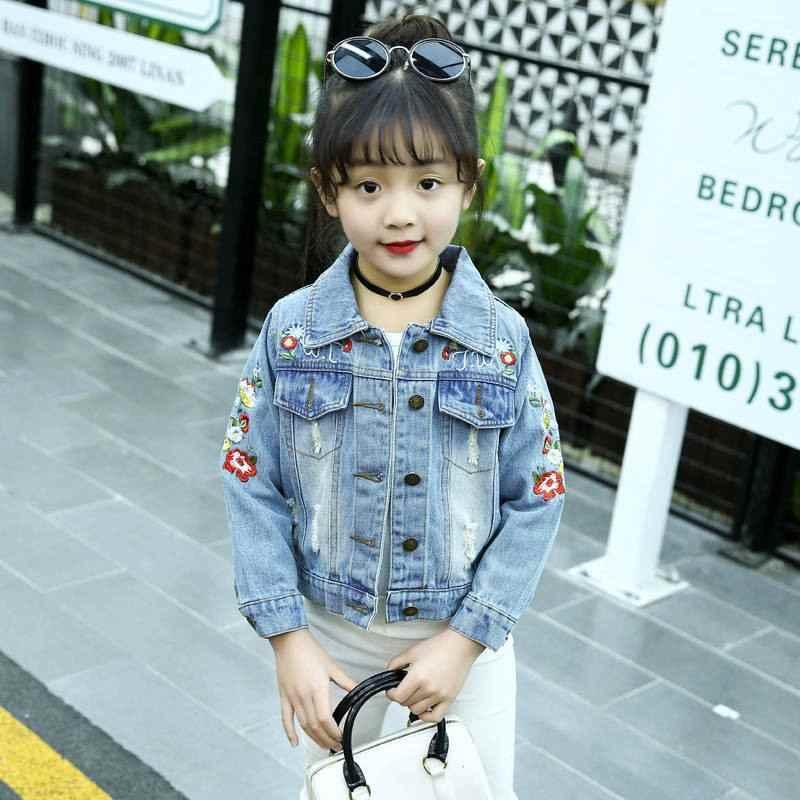 2019 Новый Демисезонный Детские платья с вышивкой для девочек, джинсовая куртка, Джинсы для малышей, куртка, верхняя одежда для маленьких девочек одежда Детские куртки для девочек T124