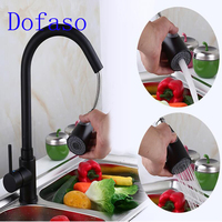 Dofaso Drawing Faucet Single Handle Tap Deck Mounted Black Kitchen Faucet Pull Down Dual Sprayer Nozzle