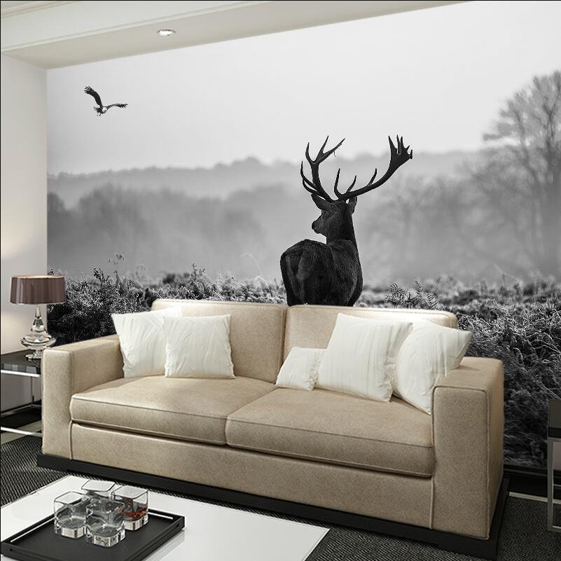 Reindeer Photo Wallpaper Black And White Pohto Wallpapers For Living Room Background Wall Decor