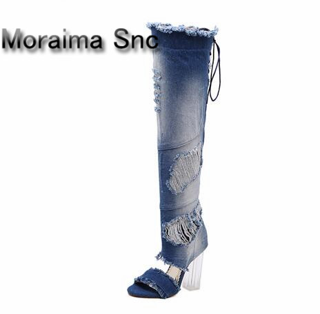 Moraima Snc women summer shoes peep toe denim long boots Transparent high heels thigh high boots lace up cut-out Cowboy boots new original kinco 4 3 stn hmi text display md204l 192 64 20 keys with programming cable