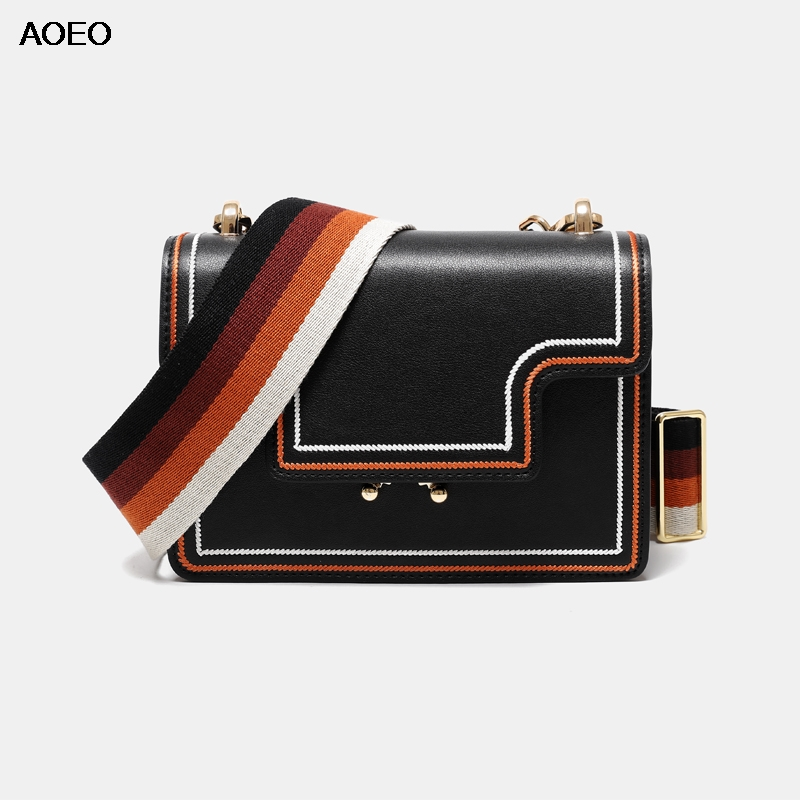 AOEO Geometry Free Wide Narrow Strap Womens Shoulder Crossbody Bag Flap Split Leather Summer Fashion Design