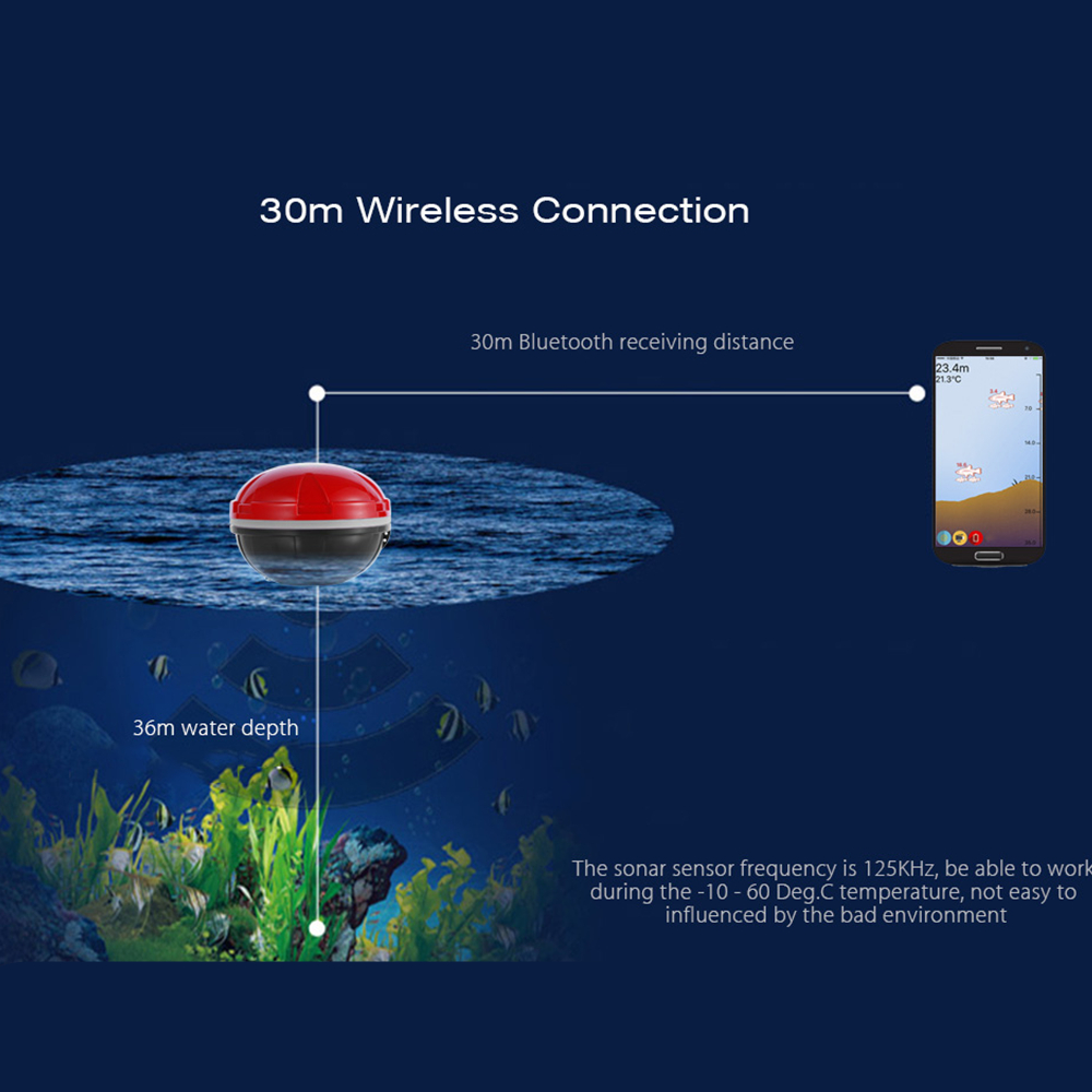 Outlife Portable Wireless Sonar Mobile Phone Fish Finder Smart Sonar Echo Bluetooth Depth Sea Lake Fish Finding for iOS Android Outlife Portable Wireless Sonar Mobile Phone Fish Finder Smart Sonar Echo Bluetooth Depth Sea Lake Fish Finding for iOS Android