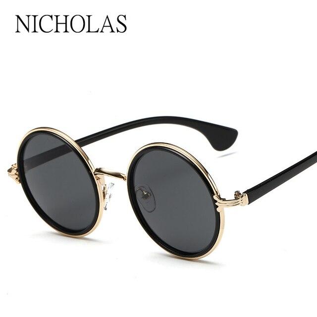 678c35dbfcf19 NICOLAU 2017 Retro Rodada Óculos De Sol Das Mulheres Dos Homens Marca  Designer Liga Feminino Luneta