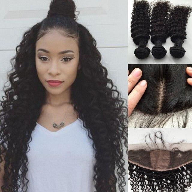 Silk Base Frontal With Bundles Natural Black 8a Malaysian Hair Deep