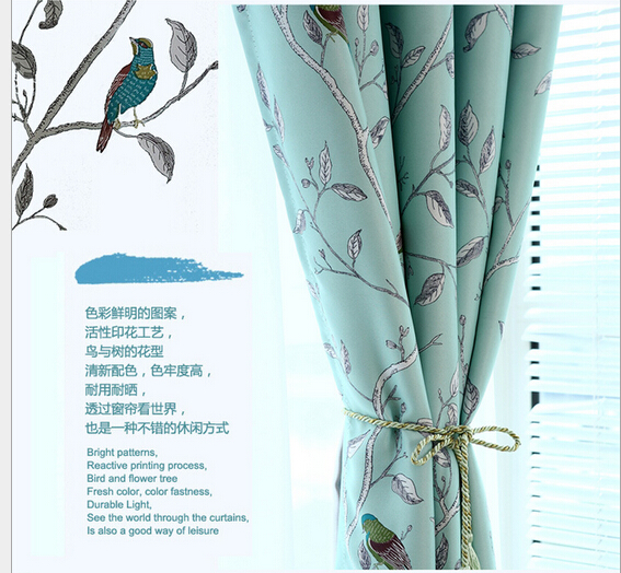 One Sided Printing Pastoral Mediterranean Blue Blackout Curtains For