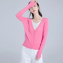 New Basic section classic long sleeve knit cardigan candy solid color thin jacket sunscreen Short style knit cardigan