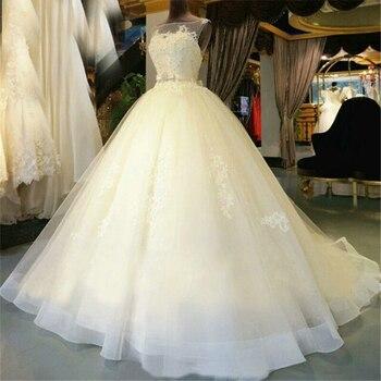 Miaoduo Ivory Vestido de Noiva 2019 Princess Wedding Dress Applique Lace Scoop Puffy Ball Gown Bridal Dress Long Robe De Mariee