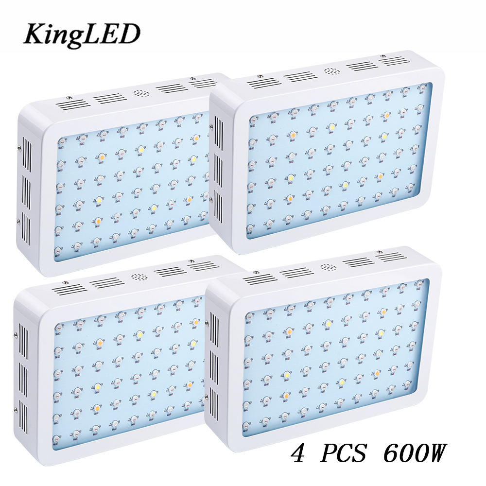 4pcs/Lot KingLED 600W LED Grow Light Double Chips Full Spectrum 410-730nm For Indoor Plants and Flower Phrase Very High Yield on sale black kingled double chips full spectrum led grow light 600w 800w 1000w 1500w for aquario hydroponic lamp high yield