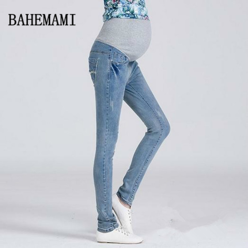 3XL Plus Size Elastic Waist 100% Cotton Maternity Jeans Pants For Pregnancy Clothes For Pregnant Women Legging Autumn Winter trendy snow wash slimming elastic waist capri jeans for women